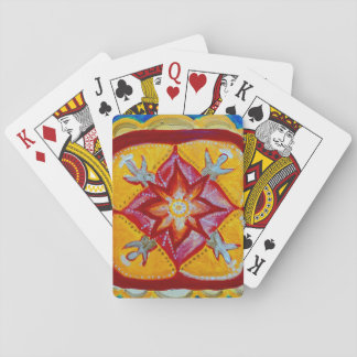 Red Mandala Classic Playing Cards