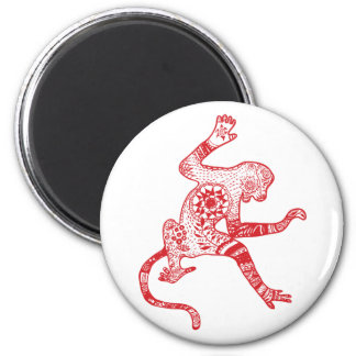 Red Mandala Fire Monkey Round Magnet