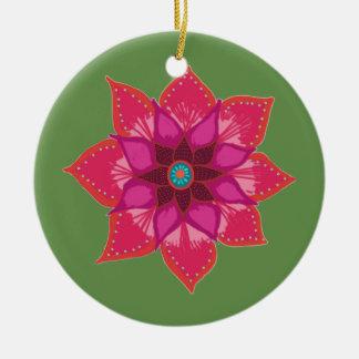 Red Mandala flower art Circle Ornament