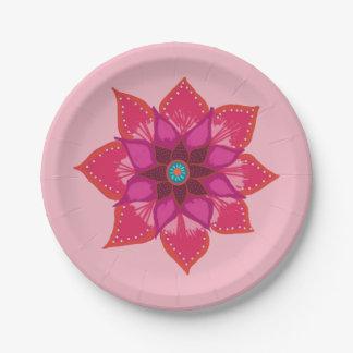 Red Mandala flower art Paper Plate