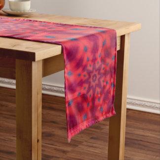 Red Mandala Kaleidoscope Long Table Runner