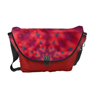 Red Mandala Kaleidoscope Messenger Bag