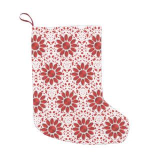 Red Mandala Pattern Christmas Socks 2