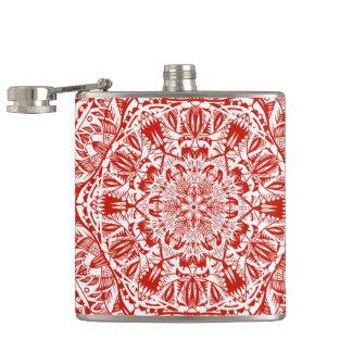 Red mandala pattern hip flask