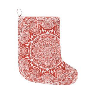 Red mandala pattern large christmas stocking