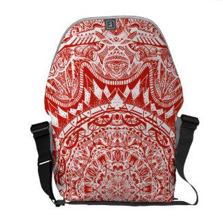 Red mandala pattern messenger bag