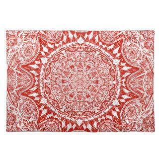 Red mandala pattern placemat