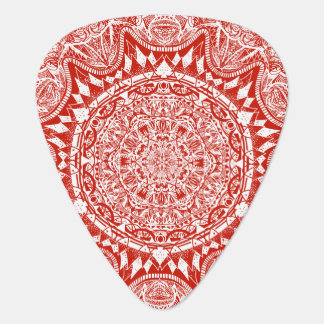 Red mandala pattern plectrum