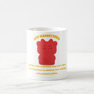 Red Maneki Neko Both Paws Mug