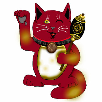 red maneki neko w/hammer photo sculpture decoration