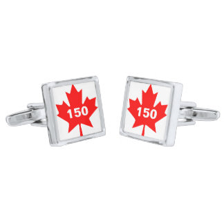 Red Maple Leaf Canada 150 customizable Silver Finish Cuff Links