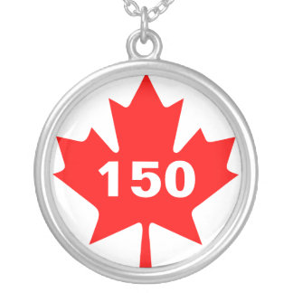 Red Maple Leaf Canada 150 customizable Silver Plated Necklace
