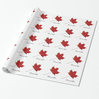 Red maple leaf - canada wrapping paper