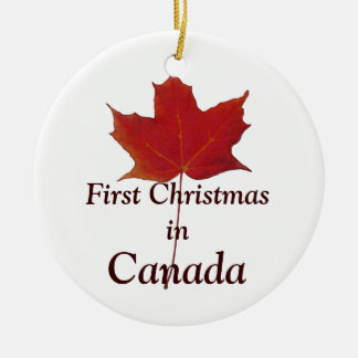 Red maple leaf  - first Christmas in Canada Ceramic Ornament