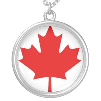 Red Maple Leaf on White Background Round Pendant Necklace