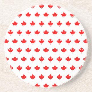Red Maple Leaf Pattern Beverage Coasters