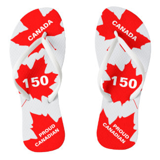 Red Maple Leaf Proud Canadian Funny customizable Thongs