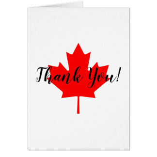 Red Maple Leaf Thank You Card