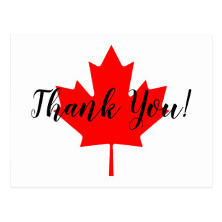 Red Maple Leaf Thank You Postcard