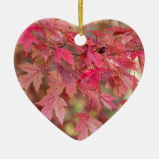 Red Maple Leaves Ceramic Ornament