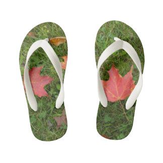 Red Maple Leaves on Grass Kid's Thongs