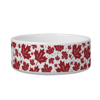 Red Maple Leaves Pattern Personalized Pet Bowl
