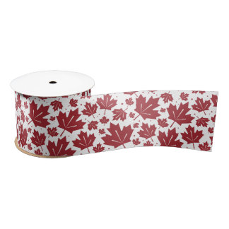 Red Maple Leaves Pattern Satin Ribbon