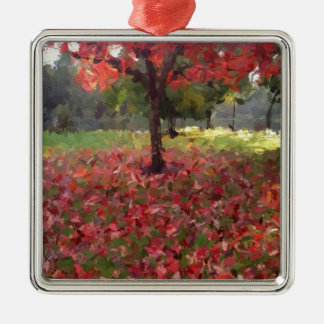 Red Maple Tree Photography Metal Ornament
