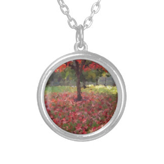 Red Maple Tree Photography Silver Plated Necklace