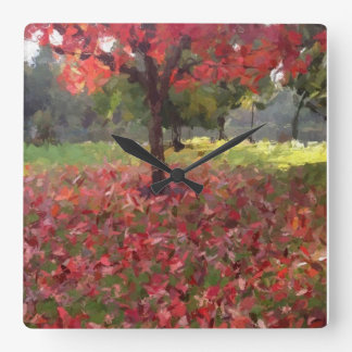 Red Maple Tree Photography Square Wall Clock