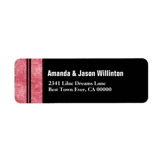 Red Marble and Black Striped Modern Wedding V01 Return Address Label
