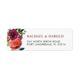 Red Marsala Burgundy Botanical Floral Return Address Label