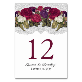 Red Marsala Burgundy Floral Lace Table Numbers
