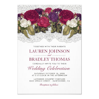 Red Marsala Burgundy Floral Lace Wedding Card