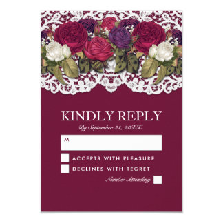 Red Marsala Burgundy Floral Lace Wedding RSVP Card