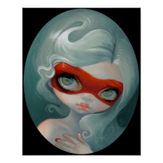 Red Mask ART PRINT Rococo Lowbrow Art
