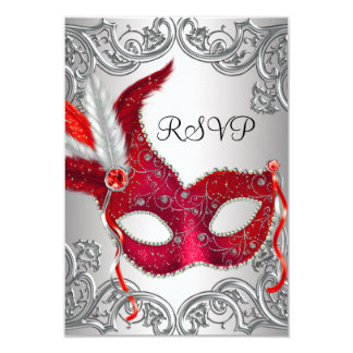 Red Mask Masquerade Party RSVP 9 Cm X 13 Cm Invitation Card