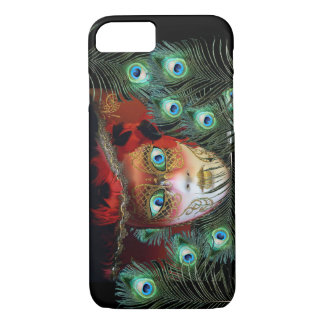 RED MASK WITH  PEACOCK FEATHERS MASQUERADE PARTY iPhone 7 CASE