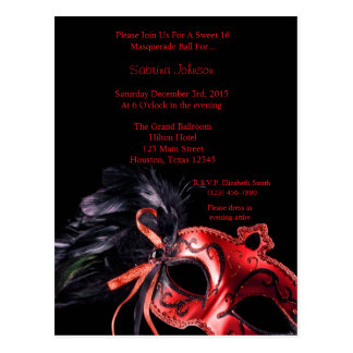 Red Masquerade Ball Sweet Sixteen Birthday Postcard