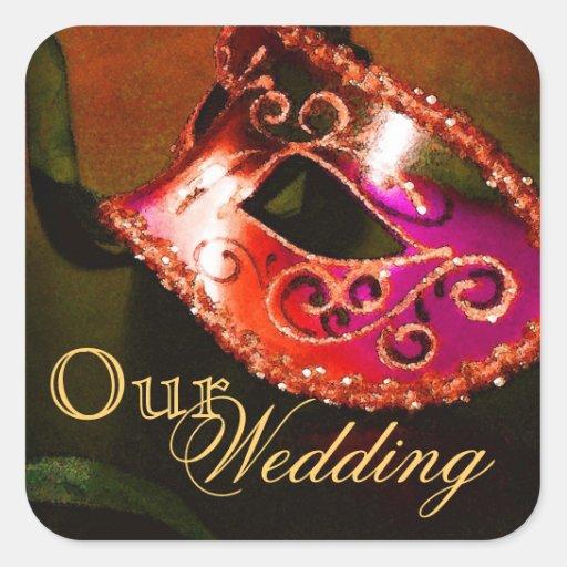 Red Masquerade Our Wedding Sticker