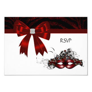 Red Masquerade Party RSVP 9 Cm X 13 Cm Invitation Card