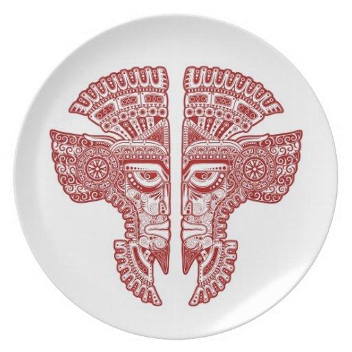 Red Mayan Twins Mask Illusion on White Plate