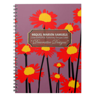 Red Meadow Blossoms Decor Purple Modern Notebook