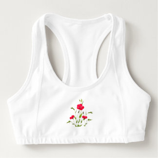 red meadow flowers sports bra