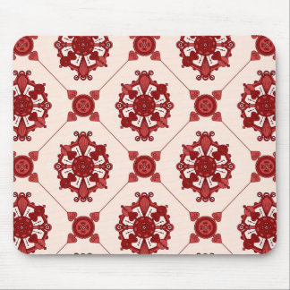 Red Medallion Pattern Mouse Pad