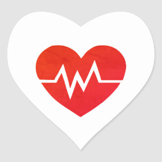 Red Medical EKG Heart Stickers