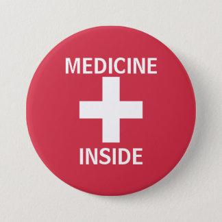 Red Medicine Inside First Aid Symbol Medication 7.5 Cm Round Badge
