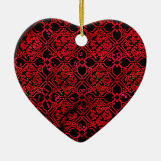 Red Medieval Floral Print Ornament