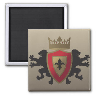 Red Medieval Lion Heraldry Magnet
