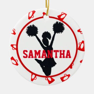 Red Megaphones and Cheerleader Personalized Ceramic Ornament